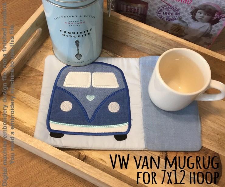 VW Van MUGRUG - ITH Embroidery Design - 7x12 hoop, Machine Embroidery Design File, digital download