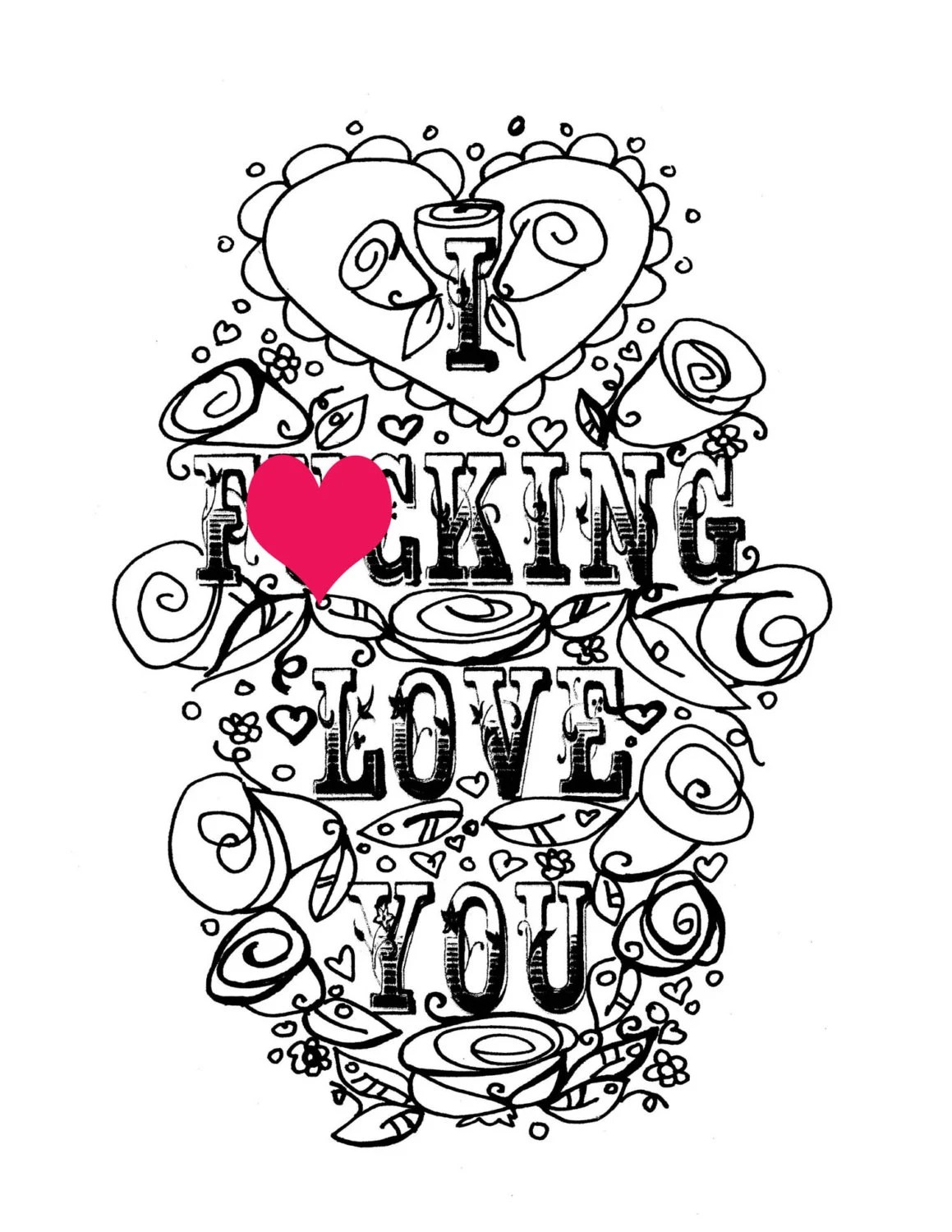 Adult Coloring Page Valentine