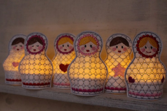 4x4 hoop - Tealight covers - In The Hoop - Machine Embroidery Design File, digital download