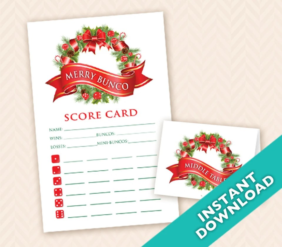 Holiday Bunco Scorecard a...