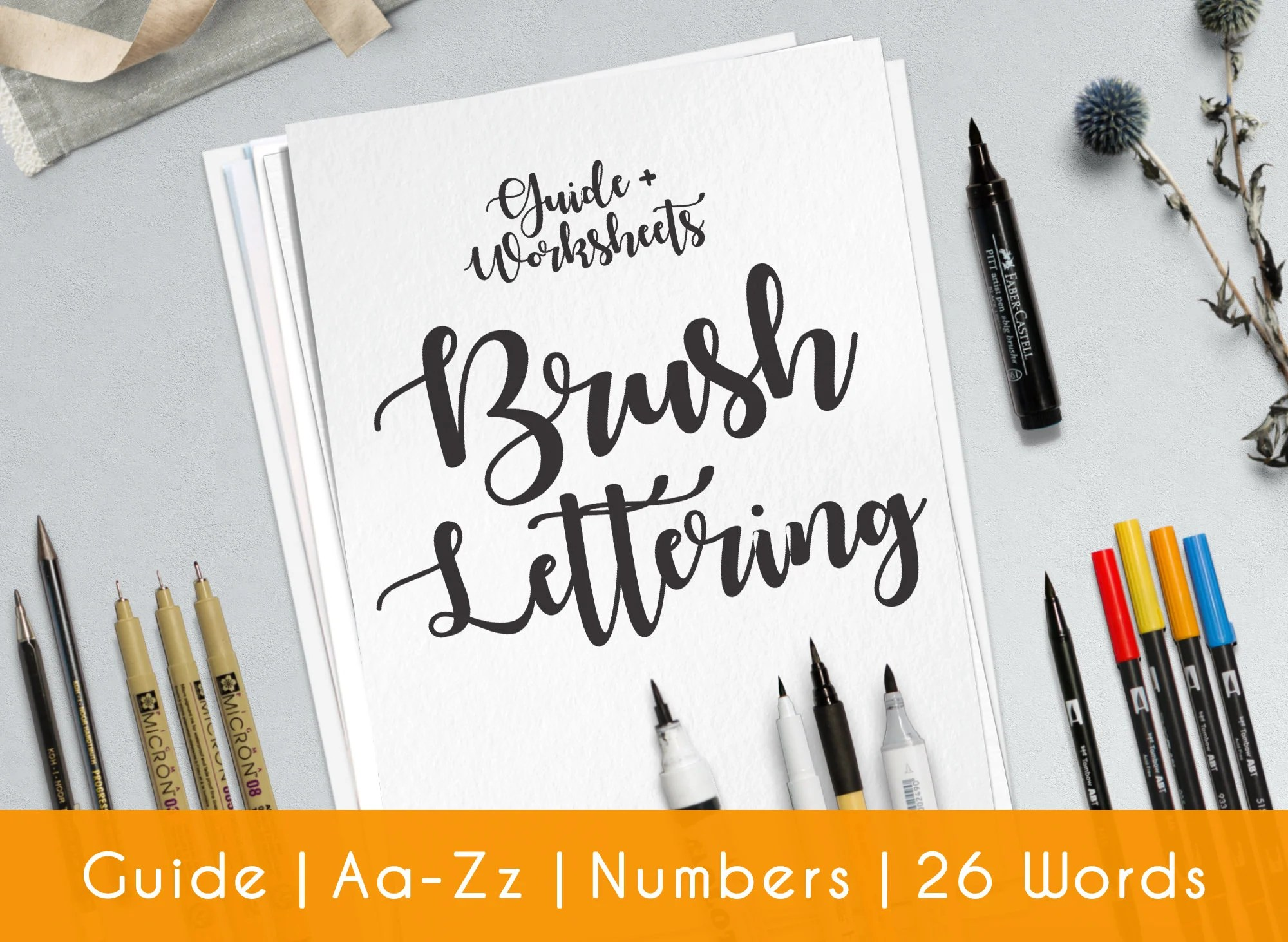 Brush Hand Lettering Worksheets 33 Practice Sheets Guide