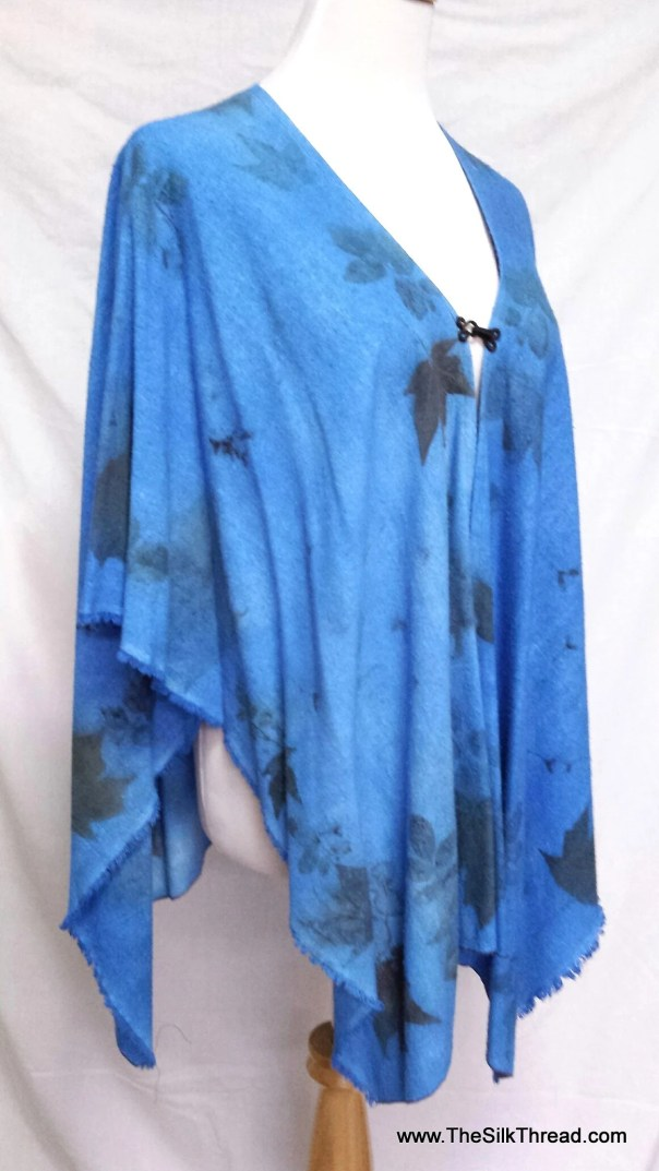 Tunic, Blue Ecoprinted,Hand Crafted, Front Closure, Soft Silk Noil, Fits All Sizes, All Natural Designs from Nature's Plants, Free USA ship