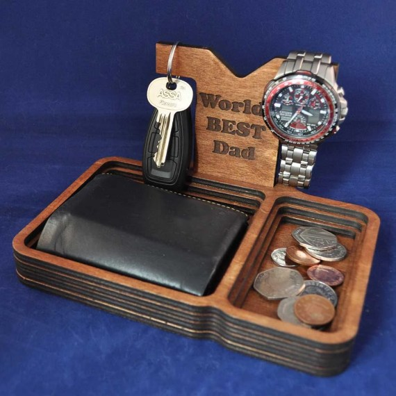 Wooden Valet Tray with removable Back Stand