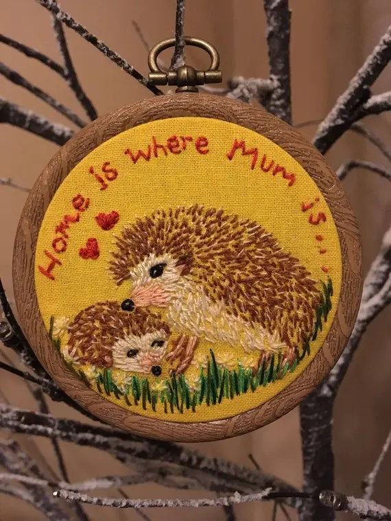 Hedgehog Mum and baby, Home is where Mum is Embroidery