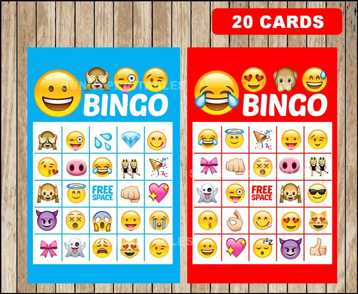 Printable 20 Emoji Bingo Cards Printable Emojis Bingo Game
