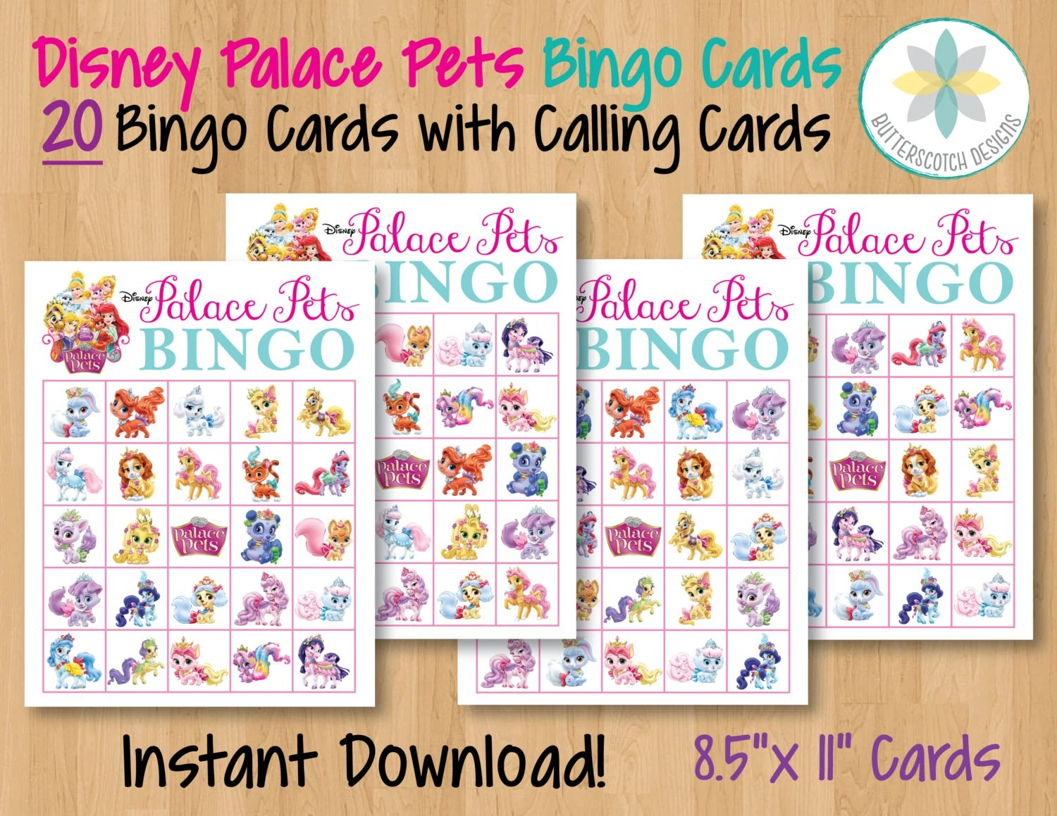 Princess Palace Pets Printable Bingo Cards 20 Different