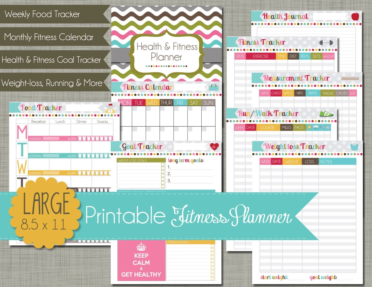 Large Printable Health And Fitness Planner Set Sized 8 5 X