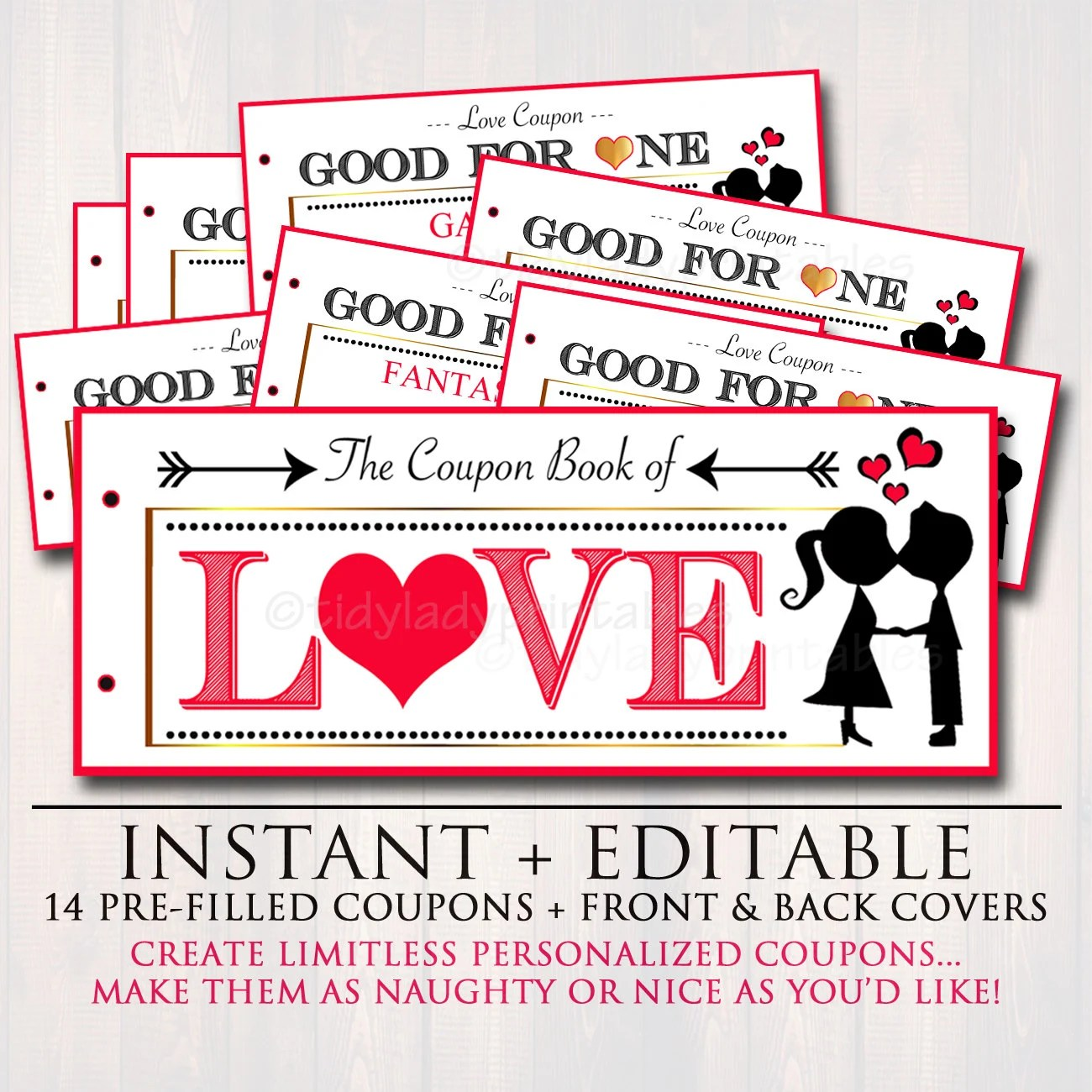 EDITABLE Love Coupon Book INSTANT DOWNLOAD Printable Love