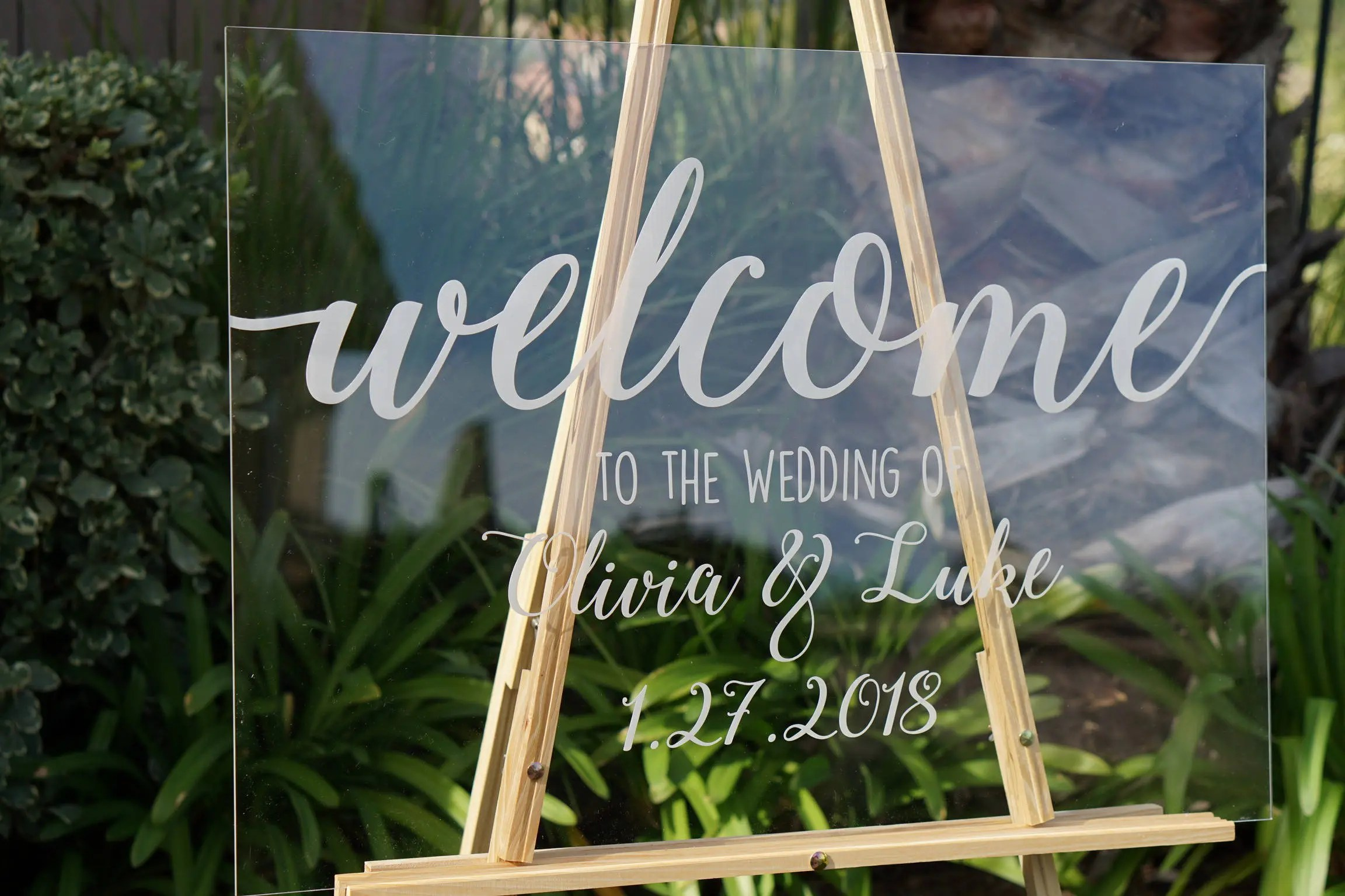 Clear Wedding Welcome Sign Wedding Signs Personalized Sign Modern Wedding Decoration Sign