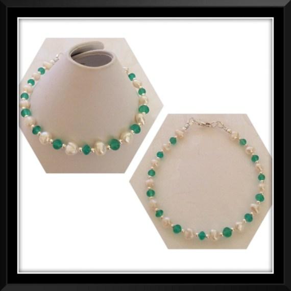 Green Jade & Freshwater Pearl Bracelet