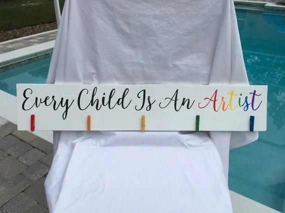 Every Child Customised Wooden Art Display Sign