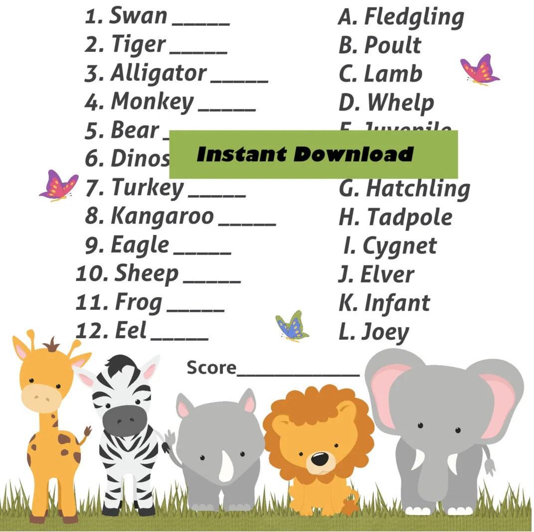 Name The Baby Jungle Safari Baby Animal Shower Game Zoo