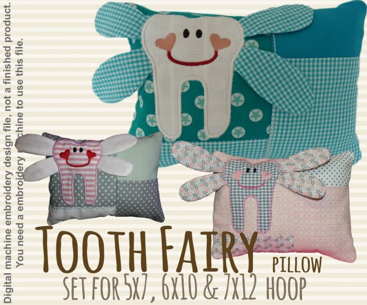 Tooth fairy pillow SET - 5x7, 6x10 & 7x12 hoop - ITH - In The Hoop - Machine Embroidery Design File, digital download