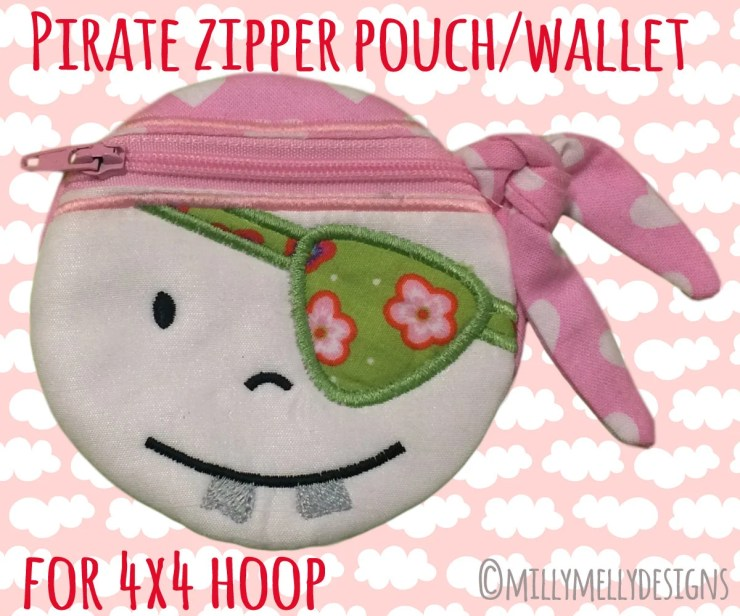 PIRATE wallet pouch - 4x4 hoop - ITH - In The Hoop - Machine Embroidery Design File, digital download
