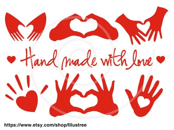 Download Hand made with love red heart handmade digital clip art