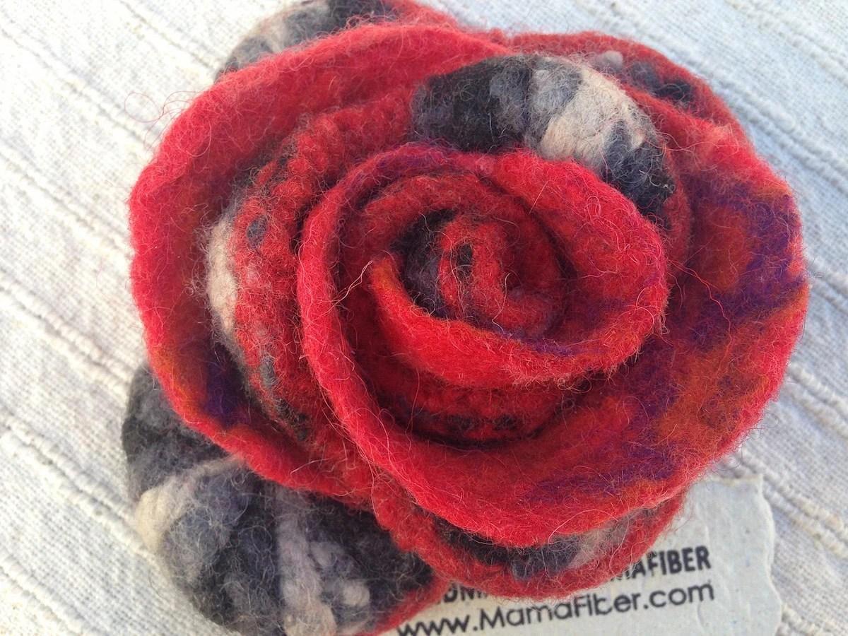 Flamenco Flower Pin in Re...