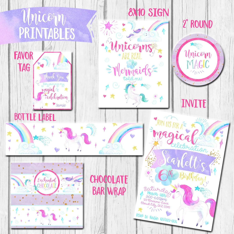 Unicorn Party Theme Printable Unicorn Invitation Rainbow