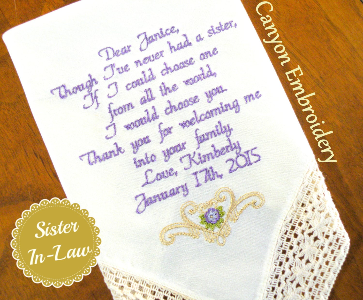 Sister Sister In-Law Wedding Gift Embroidered Wedding