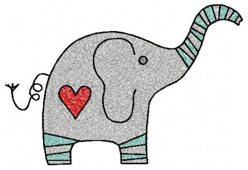 5x7 hoop machine embroidery design file, photostitch elephant