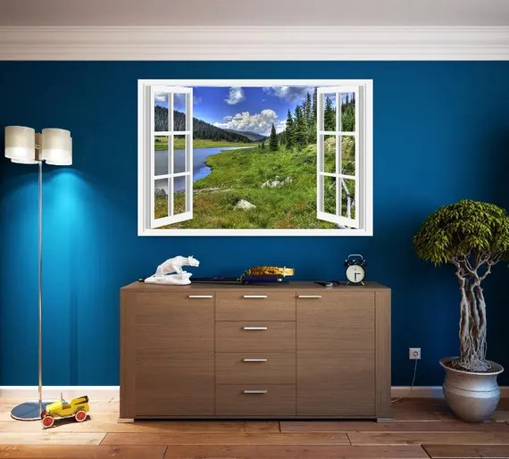 Faux Window Wall Decal of Colorado Rockies by KcustomDesign