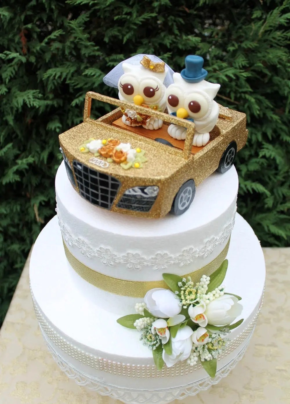 Car wedding cake topper custom owl cake topper bride and