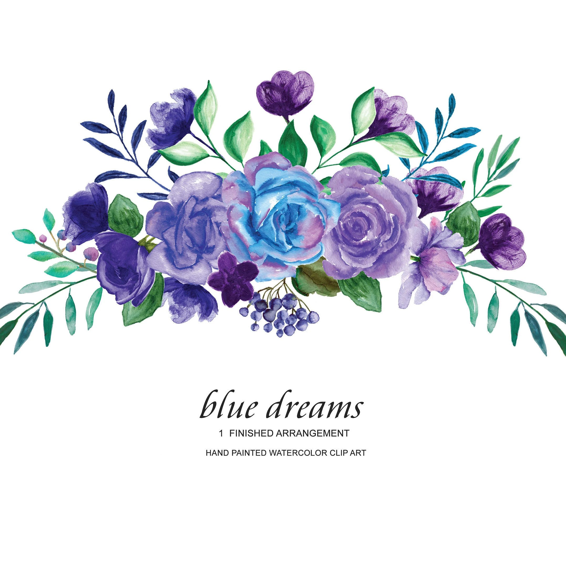 Watercolor Blue Purple Roses Flower Clipart One ...