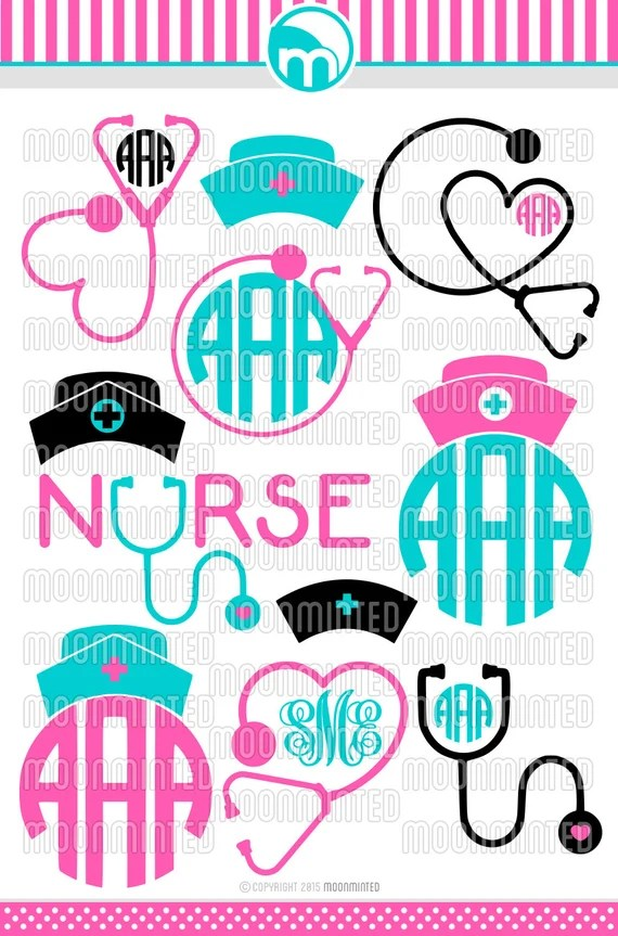 Download Nurse SVG Cut Files Monogram Frames for Vinyl Cutters
