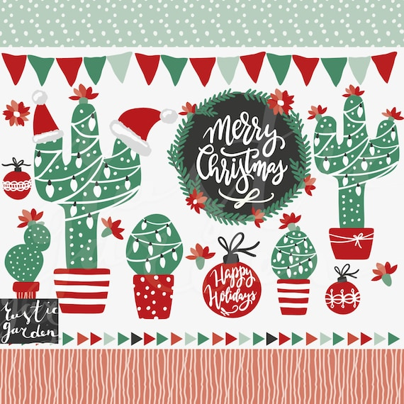 CHRISTMAS CACTUS Clipart Wreath Calligraphy For Cards