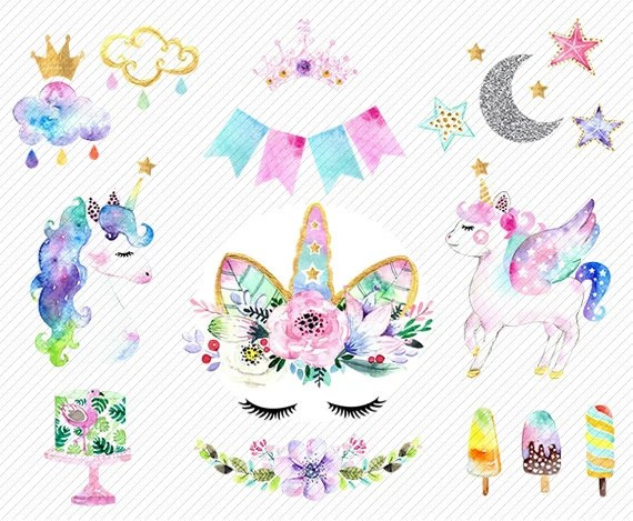 Watercolor Unicorn Clipart Unicorn Printable Baby Shower