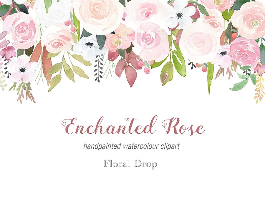 Watercolour Rose Drop Clipart Fall Wedding Soft Rose