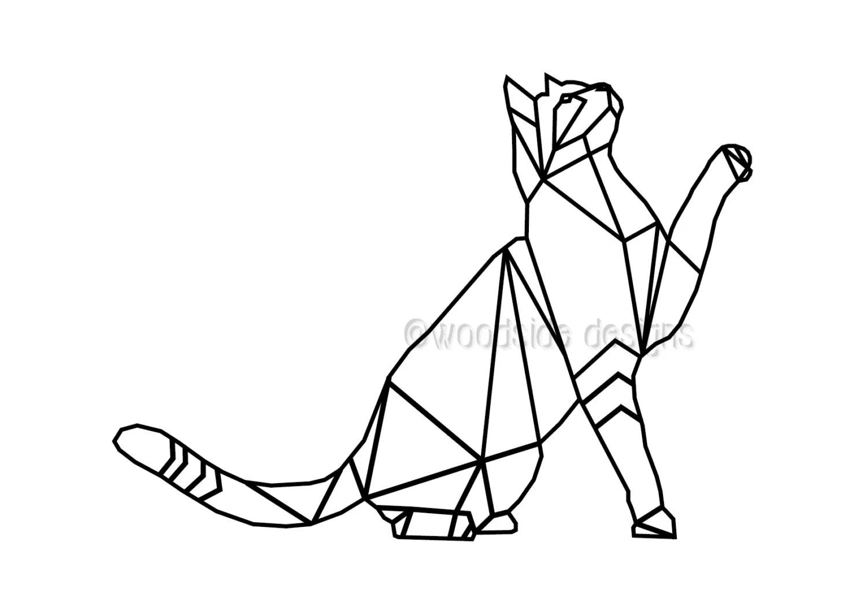 Geometric Cat Print Instant Download Wire Cat Triangular