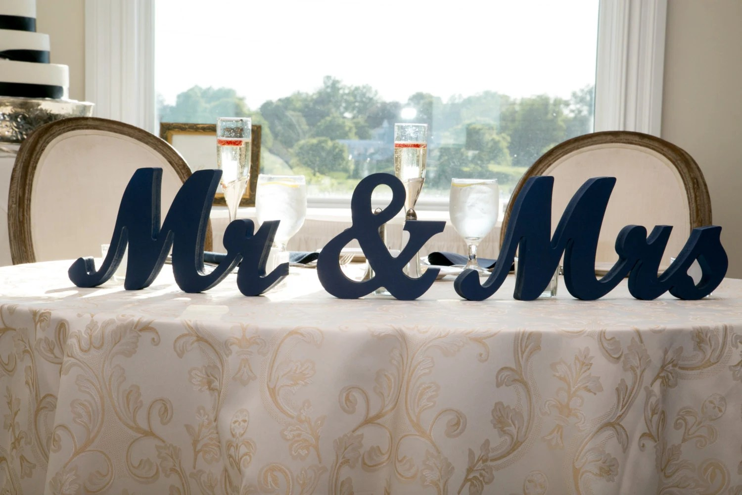 Mr Mrs Wedding Table Signs For Sweetheart Table Decor Wooden
