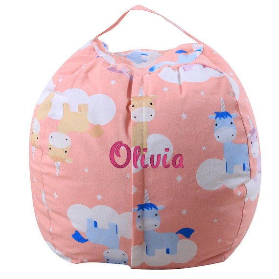 Unicorn Stuffed Animal Storage Bean Bag