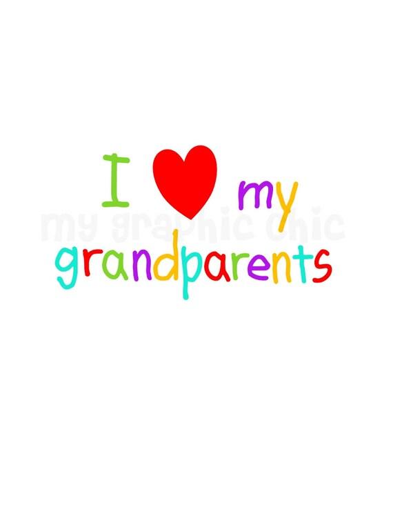 Download Items similar to I Love My Grandparents Grandma Grandpa ...