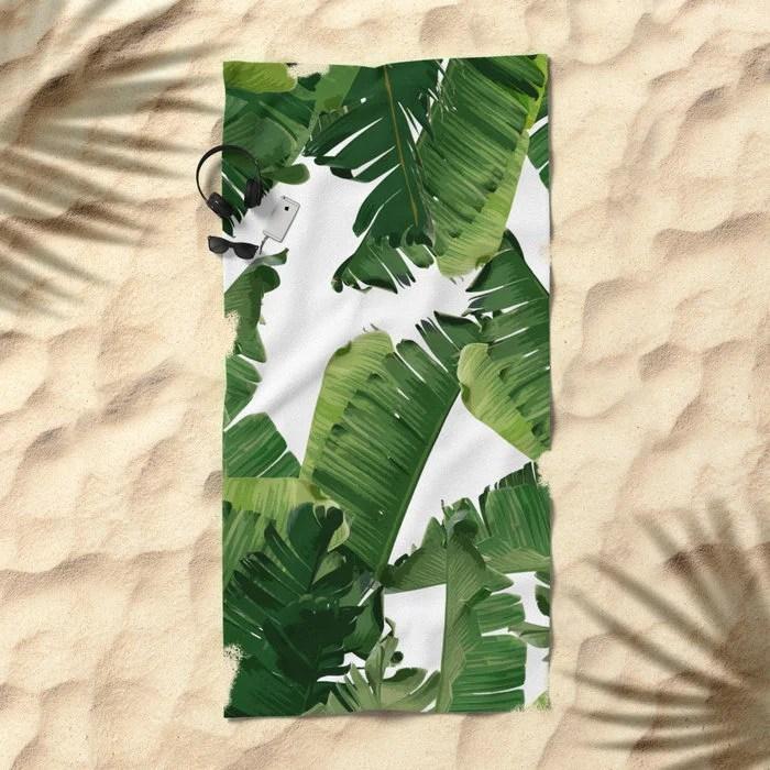 Banana Leaf Beach Towel Green Beach Sheet XL Beach Blanket