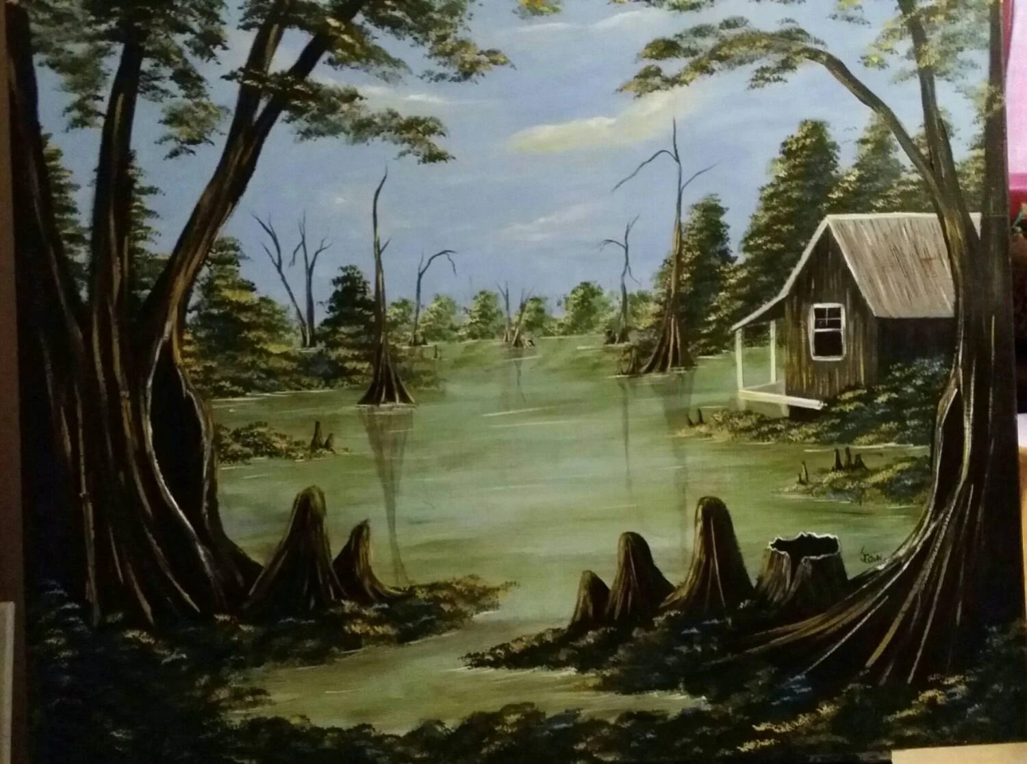 Painting On Canvas Featuring A Louisiana Swamp Scene