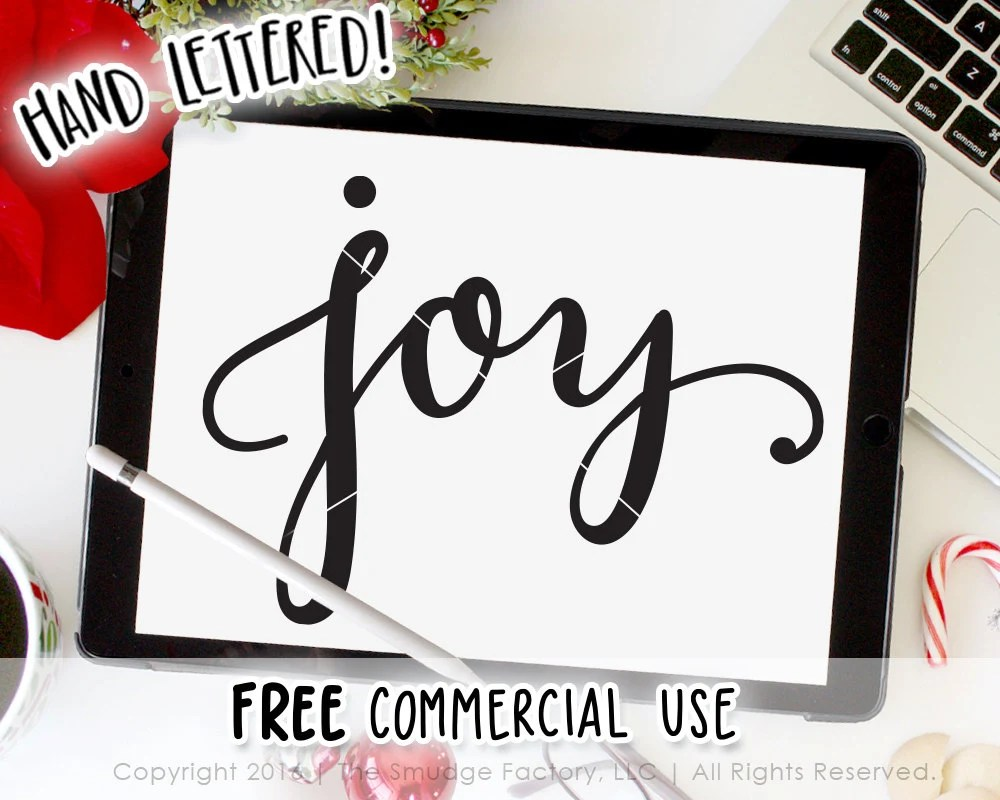 Download Joy SVG Cut File, Hand Lettered, Silhouette, Cricut ...