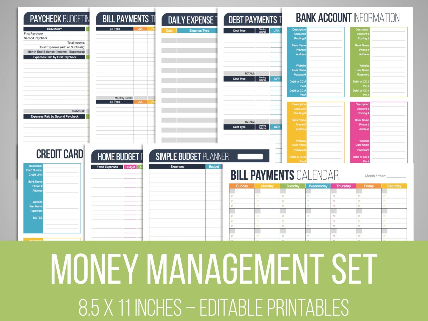Money Management Set Editable Financial Printables Bill