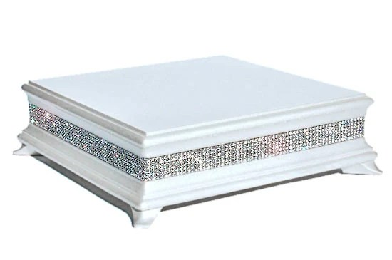 18 inch Square White Diamond Cake Stand