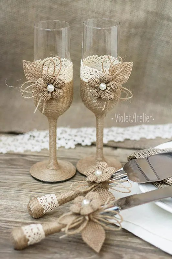 Rustic Wedding Set Burlap Lace Toasting Flutes Amp Cake Cutting