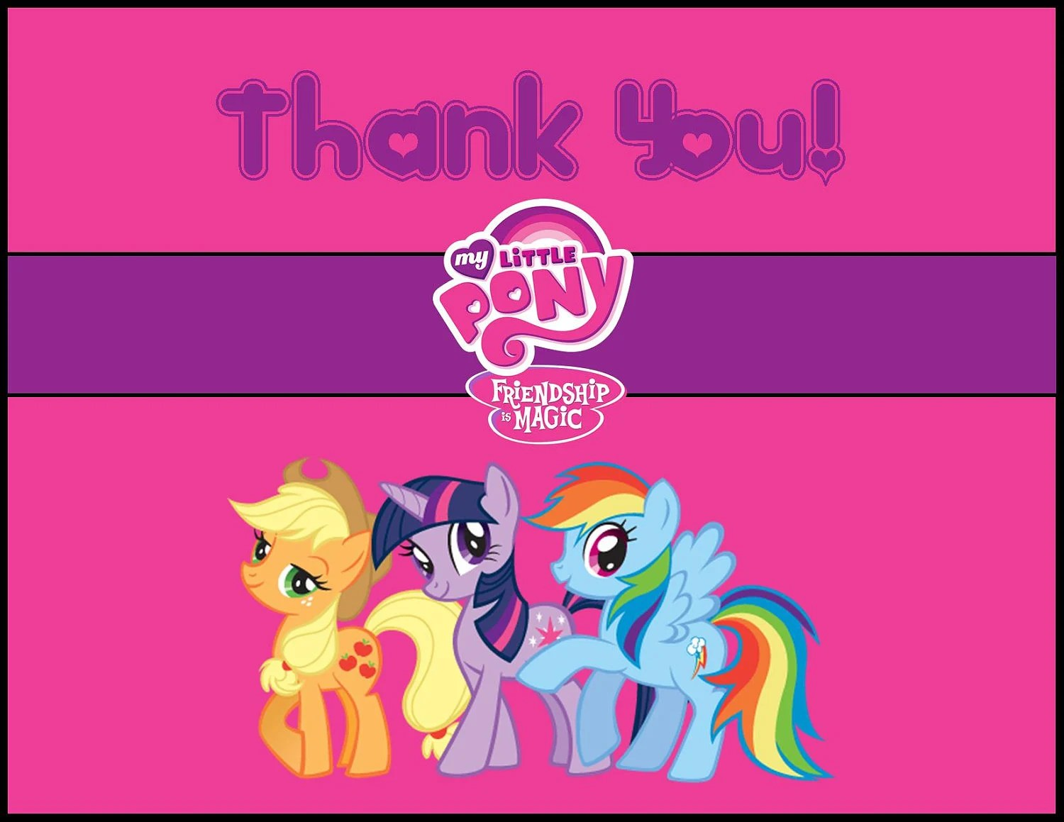 My Little Pony Thank You Card Instant Download