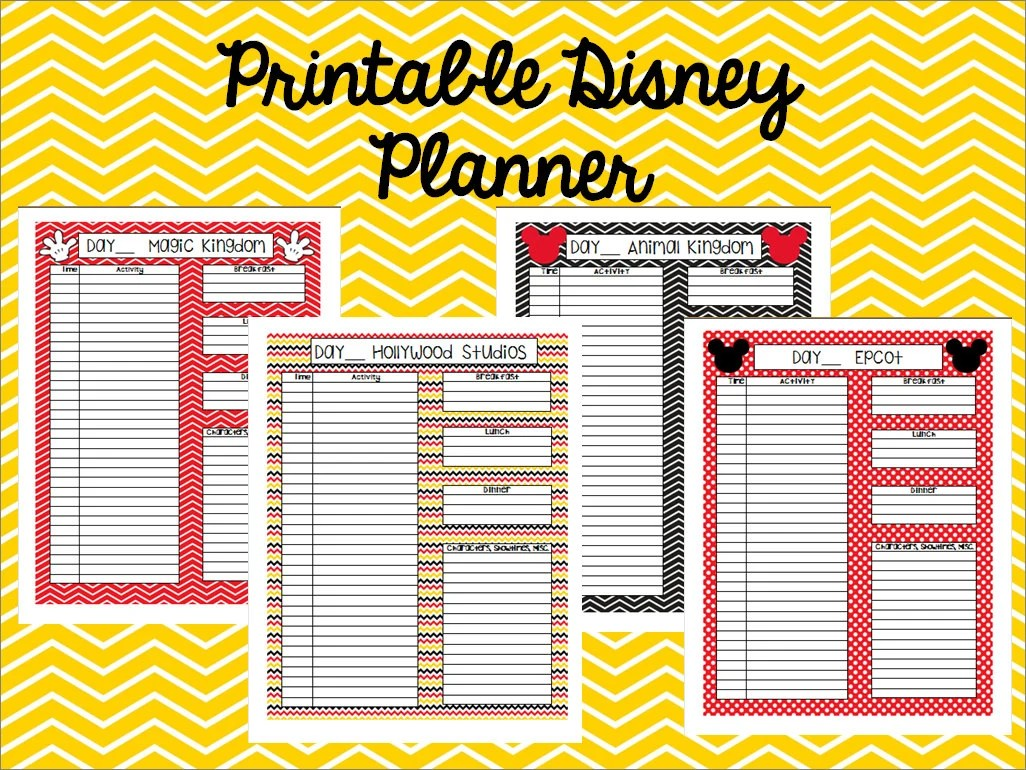 Instant Download Printable Disney Planner Agenda Itinerary