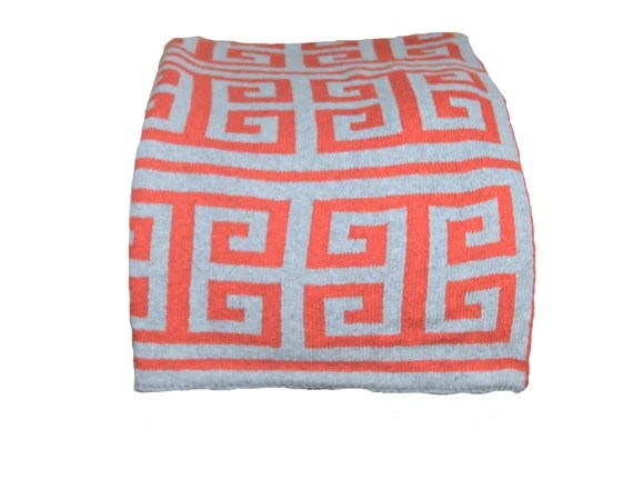 orange and gray greek keyknit throw