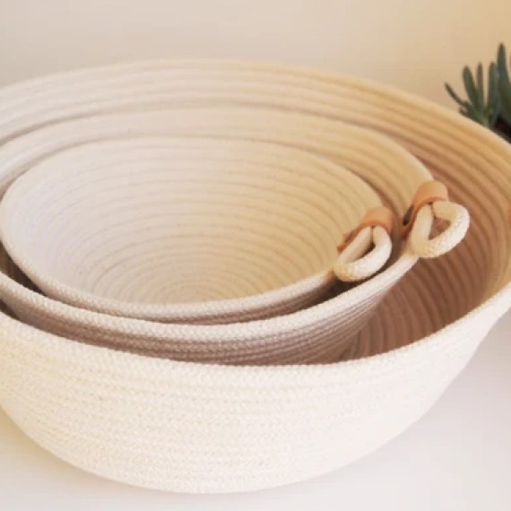 Tan & Brass Rope Planter Pot