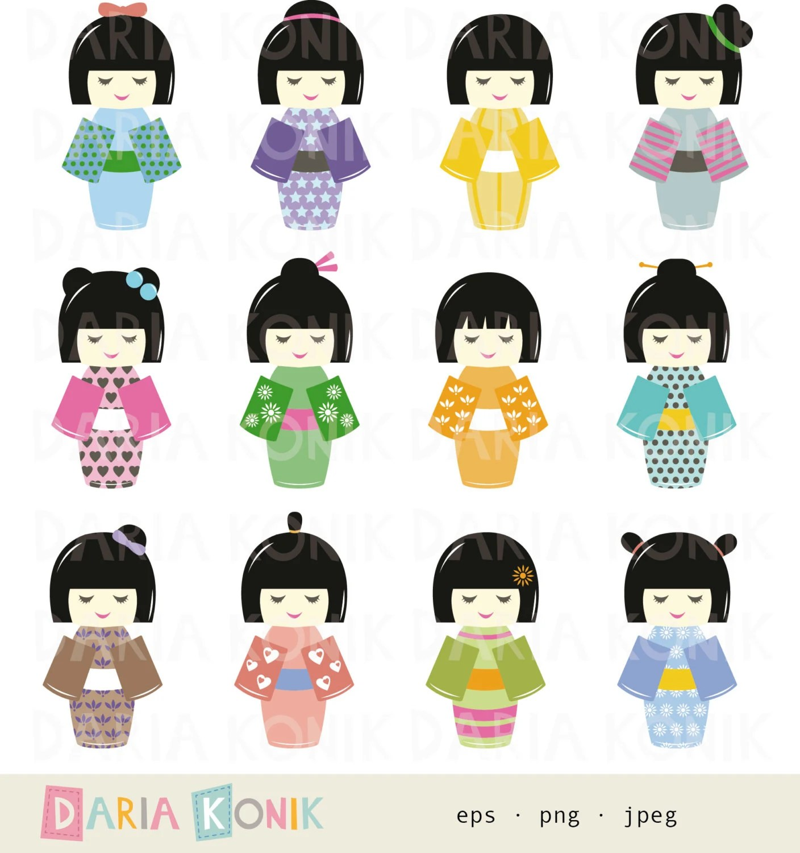 Kokeshi Dolls Clip Art Set Instant Download Japanese Dolls