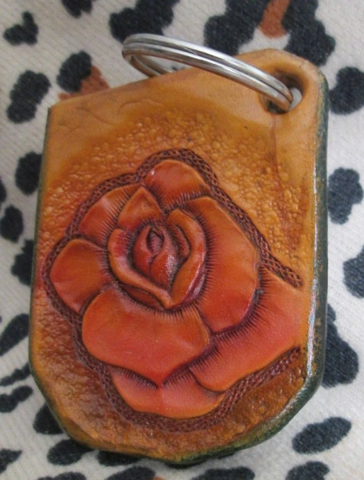 Leather key chain. rose k...
