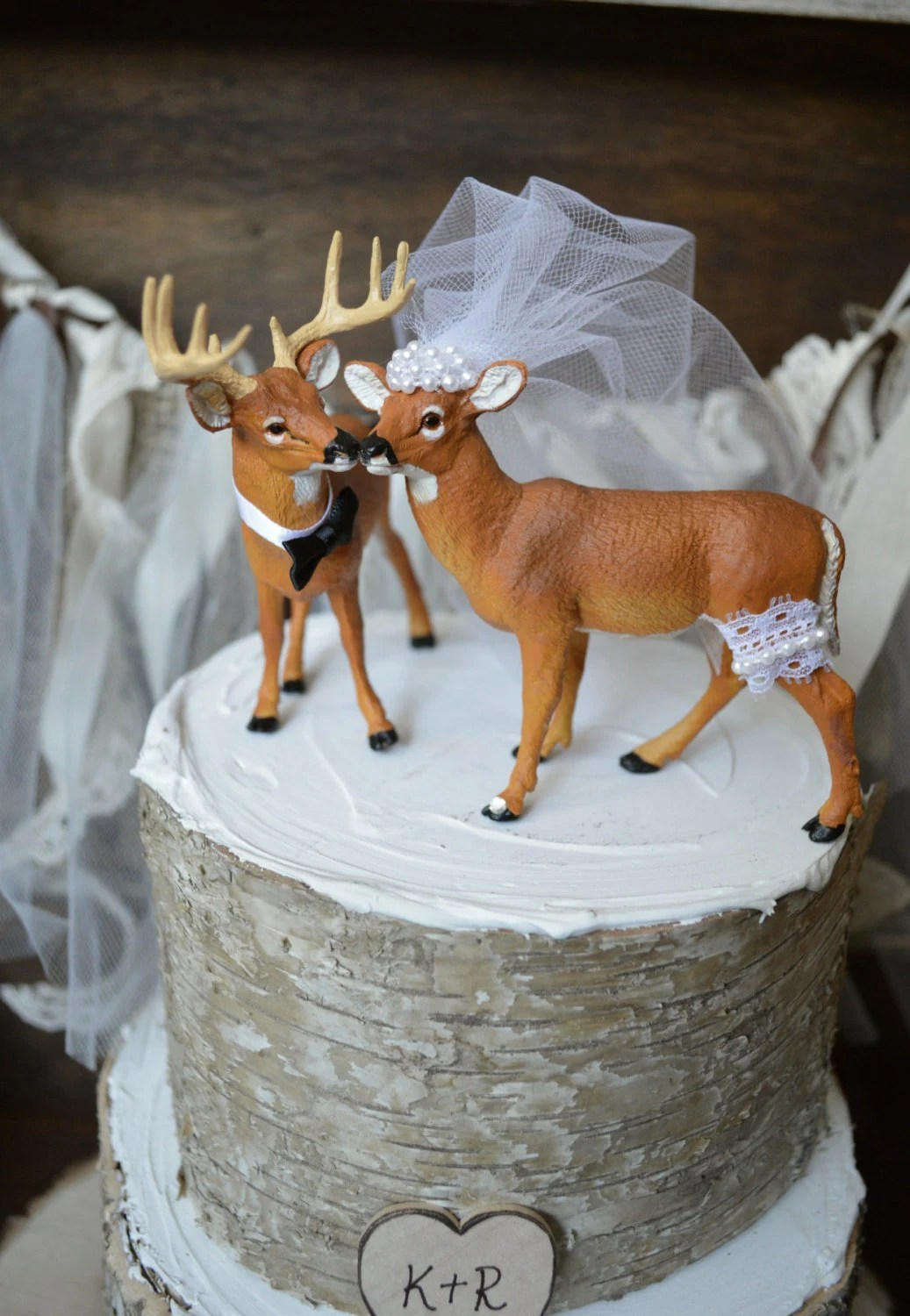 Buck doe wedding cake topper bride and groom hunting themed