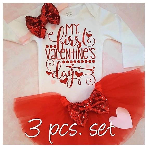 My First Valentines Day Outfit Valentines Shirtbaby