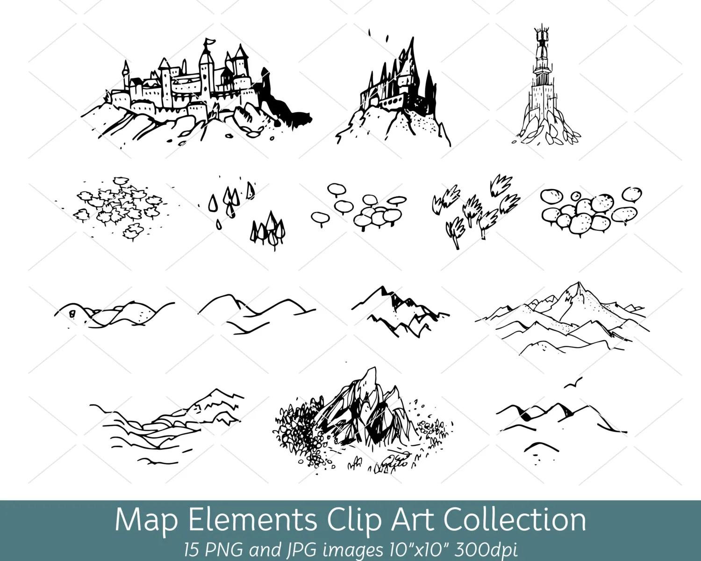 Hand Drawn Doodle Map Elements Symbols Mountain Clip Art