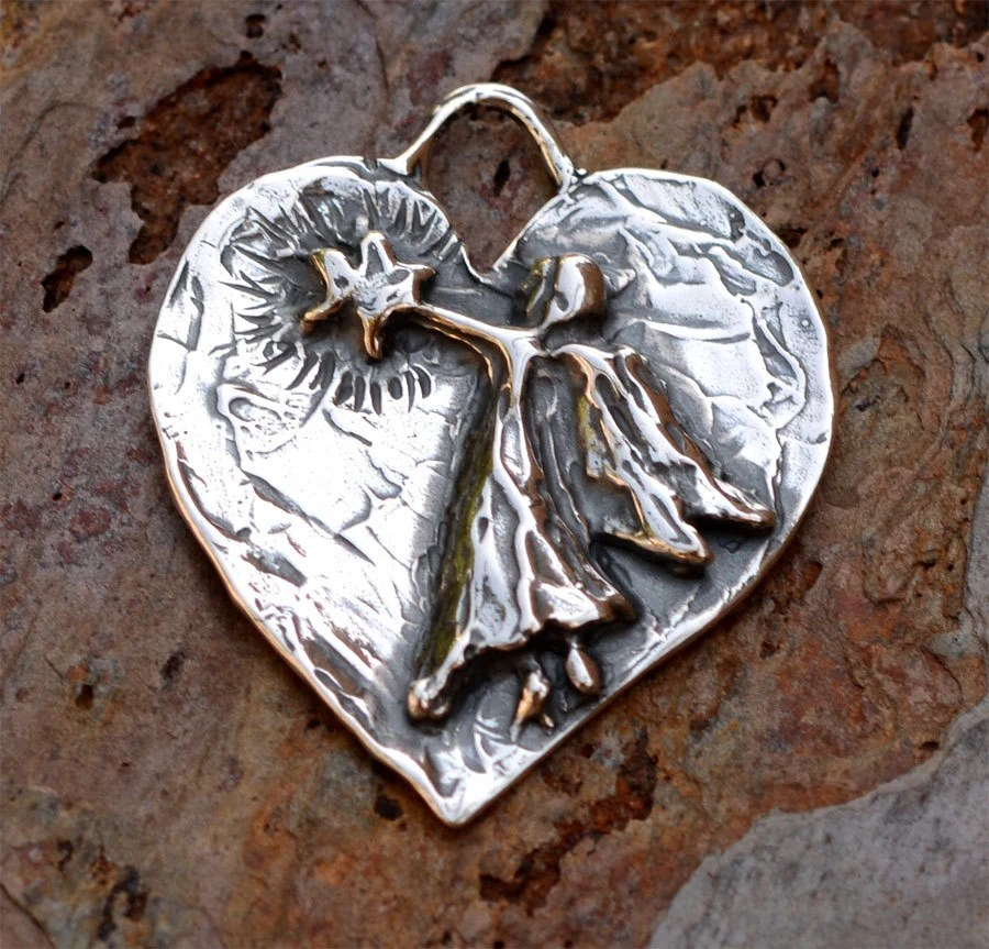 Rustic Artisan Angel with Shining Star Pendant or Big ...
